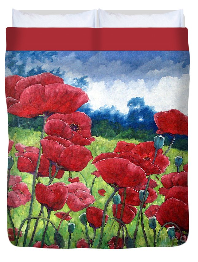 Poppies Duvet Cover featuring the painting Field Of Poppies by Richard T Pranke