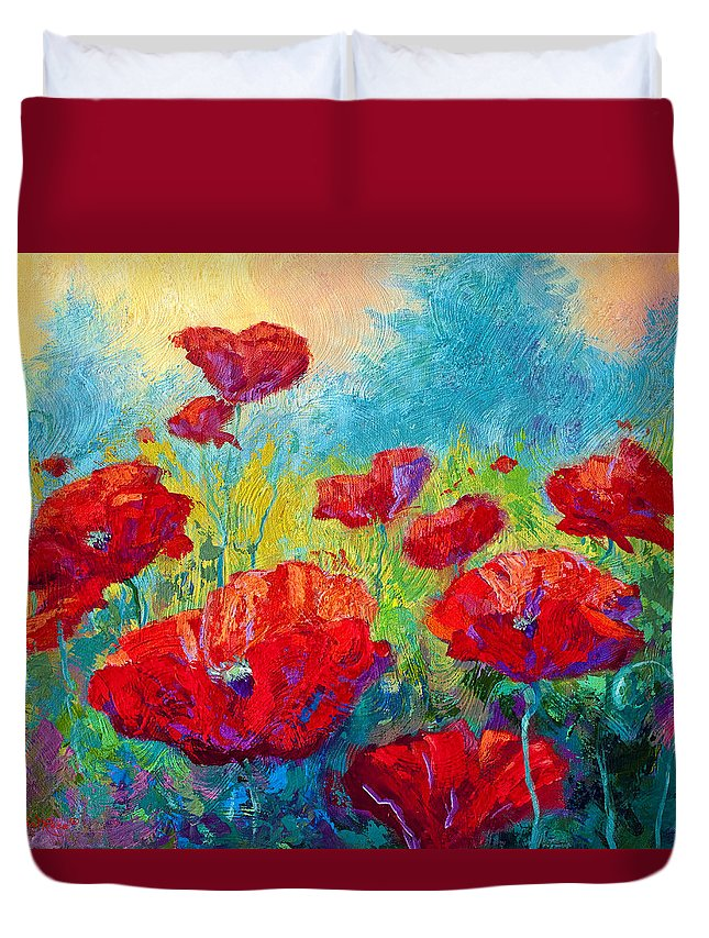 Poppies Duvet Cover featuring the painting Field Of Red Poppies by Marion Rose