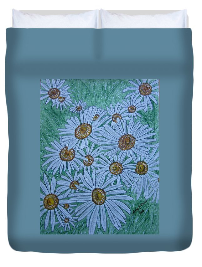 Field Duvet Cover featuring the painting Field Of Wild Daisies by Kathy Marrs Chandler