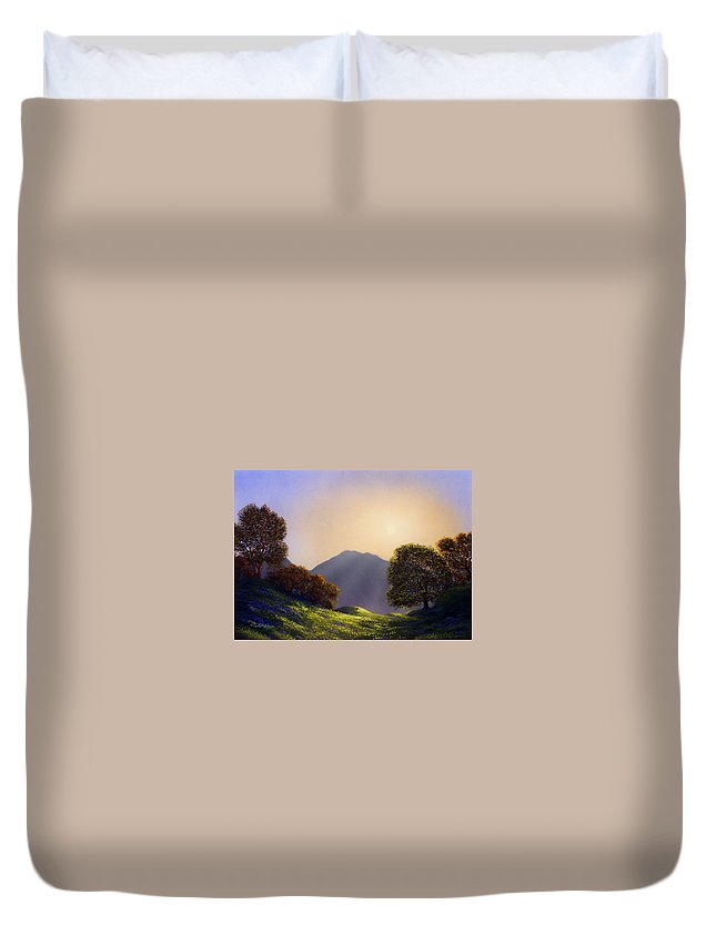 Landscape Duvet Cover featuring the painting Field Of Wildflowers by Frank Wilson