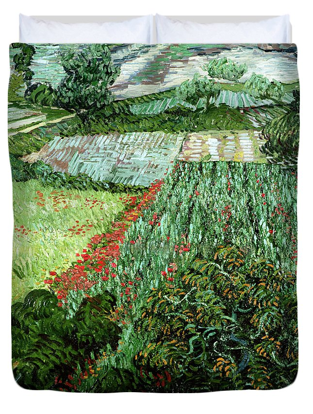 Field Duvet Cover featuring the painting Field With Poppies by Vincent Van Gogh