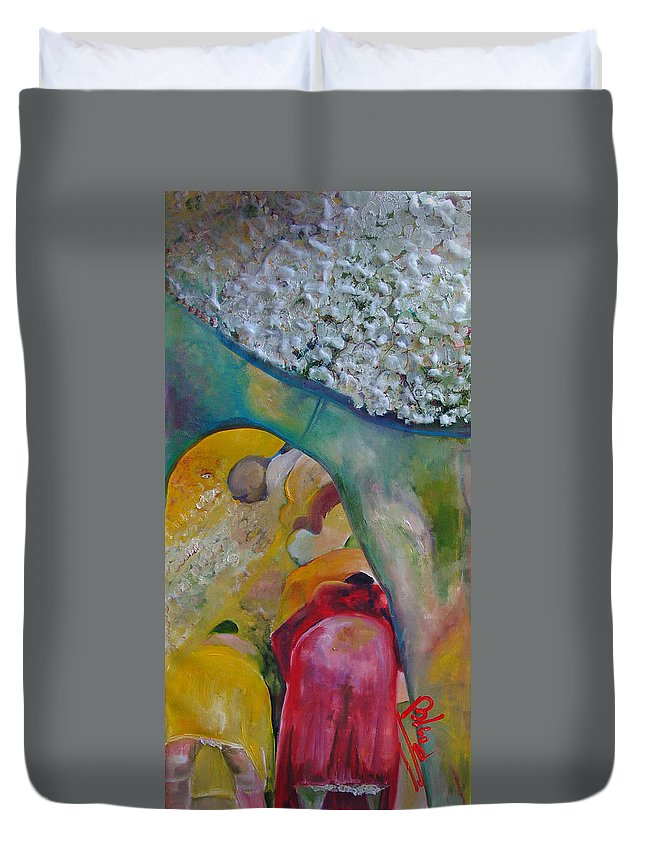 Cotton Duvet Cover featuring the painting Fields Of Cotton by Peggy Blood