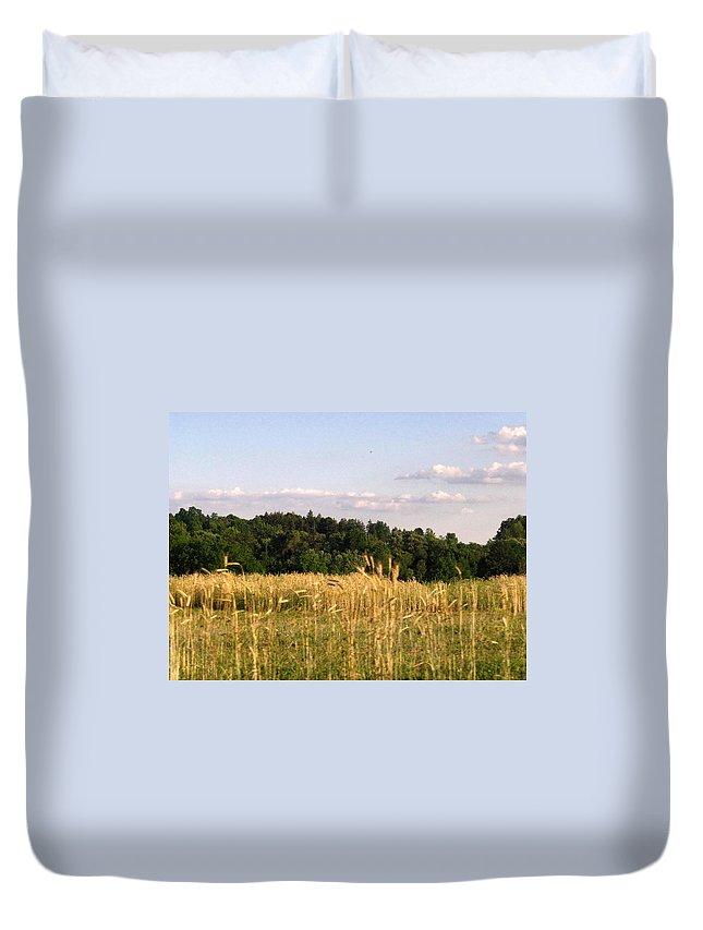 Field Duvet Cover featuring the photograph Fields Of Grain by Rhonda Barrett