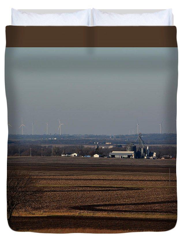 Landscape Duvet Cover featuring the photograph Fields by Pamela Peters
