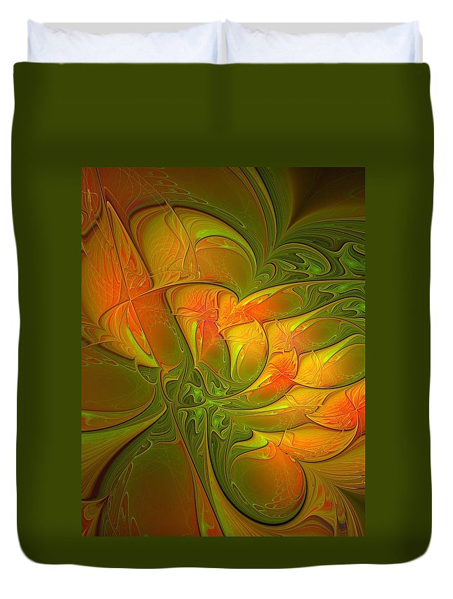 Digital Art Duvet Cover featuring the digital art Fiery Glow by Amanda Moore