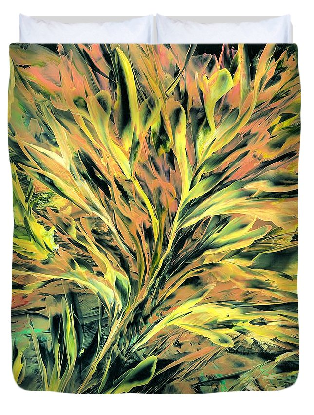 #harvest Duvet Cover featuring the painting Fiery Harvest by Lisa Grogan