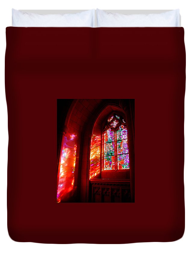 Stained Glass Duvet Cover featuring the photograph Fiery Light 2 by Tom Reynen