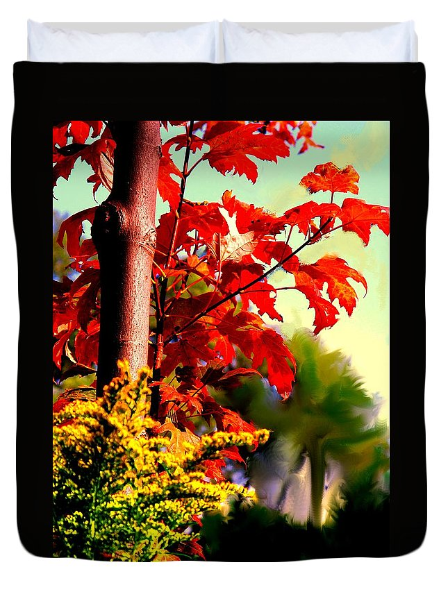 Red Duvet Cover featuring the photograph Fiery Red Autumn by Ian MacDonald