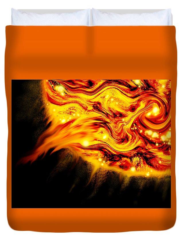 Sun Duvet Cover featuring the digital art Fiery Sun Erupting With M1.7 Class Solar Flare by Abstract Angel Artist Stephen K