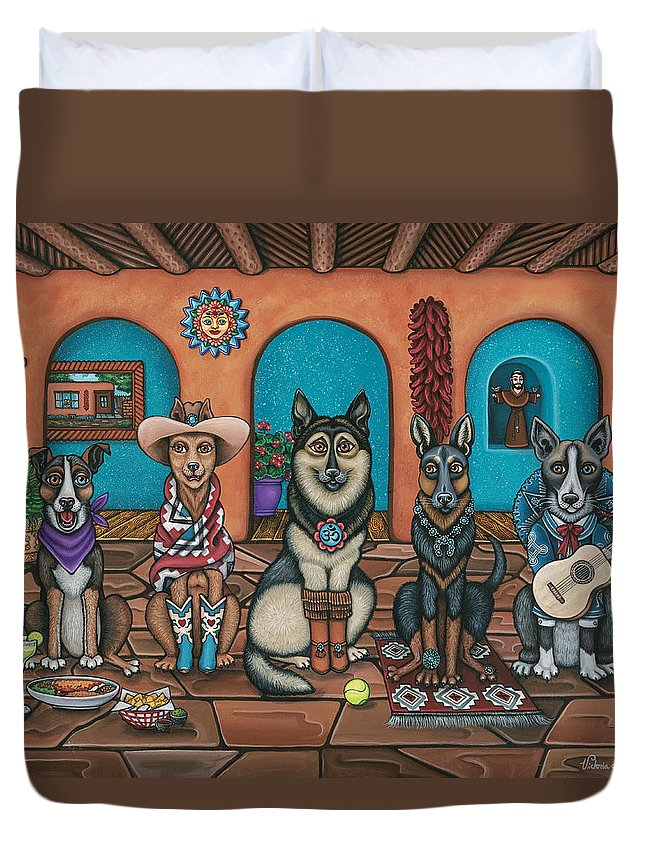 Dogs Duvet Cover featuring the painting Fiesta Dogs by Douglas Jones