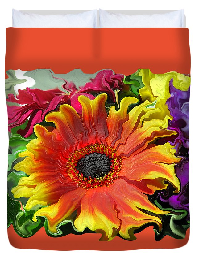 Abstract Duvet Cover featuring the photograph Floral Fiesta by Kathy Moll