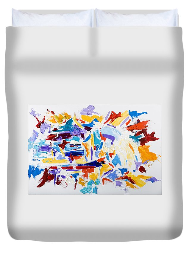 Abstract Yellow Duvet Cover featuring the painting Fiesta by Shannon Grissom