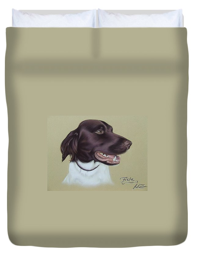 Dog Duvet Cover featuring the pastel Fiete by Nicole Zeug