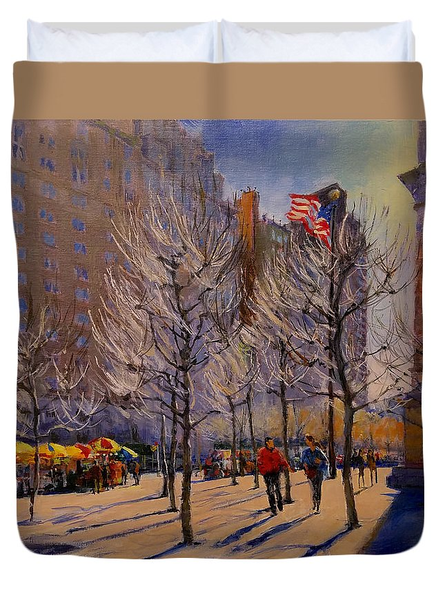 New York Duvet Cover featuring the painting Fifth Avenue - Late Winter At The Met by Peter Salwen