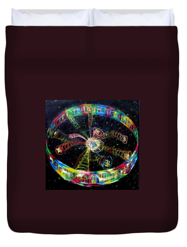 Scripture Duvet Cover featuring the painting Fifth Day Of Creation by Anne Cameron Cutri