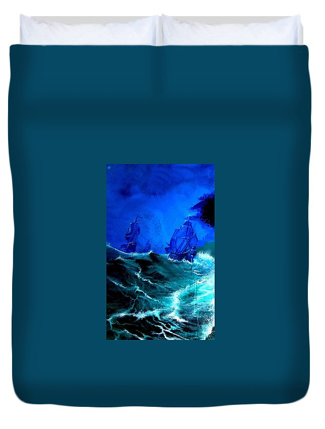 Seascape Duvet Cover featuring the painting Fight For Life by Glory Fraulein Wolfe