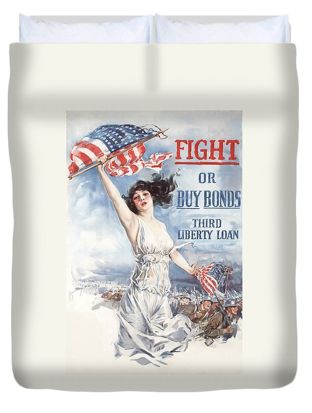 Lady Liberty Duvet Cover featuring the painting Fight Or Buy Bonds by War Is Hell Store