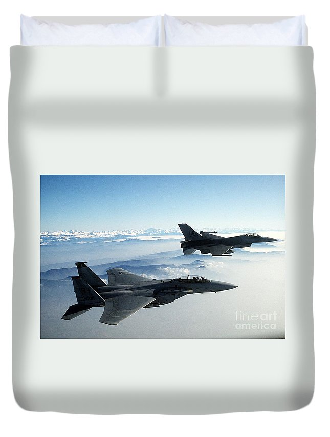 Fighter Jets Duvet Cover featuring the painting Fighter Jets by Celestial Images