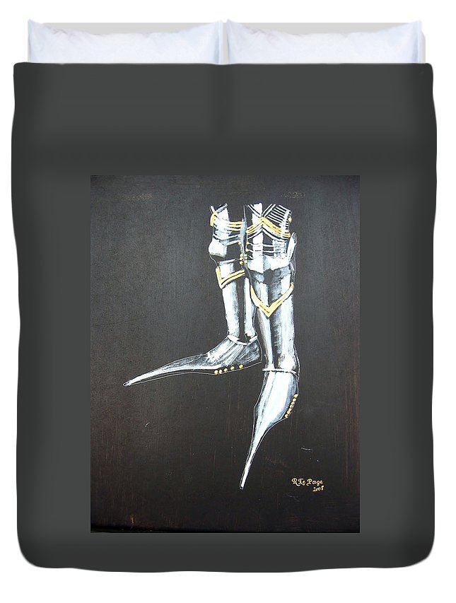 Boots Duvet Cover featuring the painting Fighting Boots by Richard Le Page