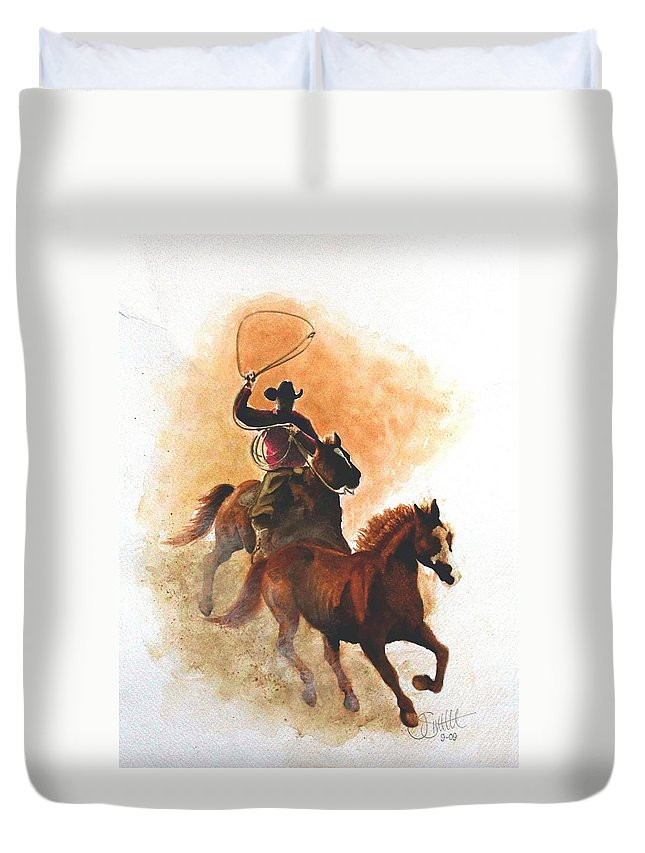 Western Duvet Cover featuring the painting Fighting For Freedom by Jimmy Smith