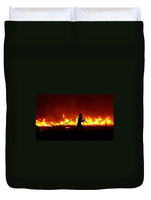 Fire Duvet Cover featuring the digital art Fighting The Fire by Linda Unger