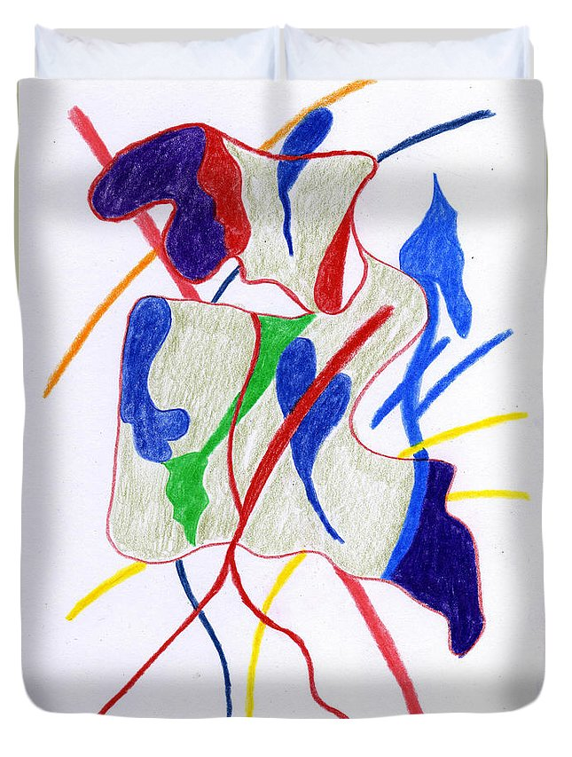 Figurative Duvet Cover featuring the drawing Figuerlich 17062 by AndReaS KoVaR