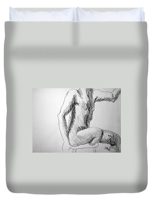 Figure Duvet Cover featuring the drawing Figure Drawing 3 by Nancy Mueller