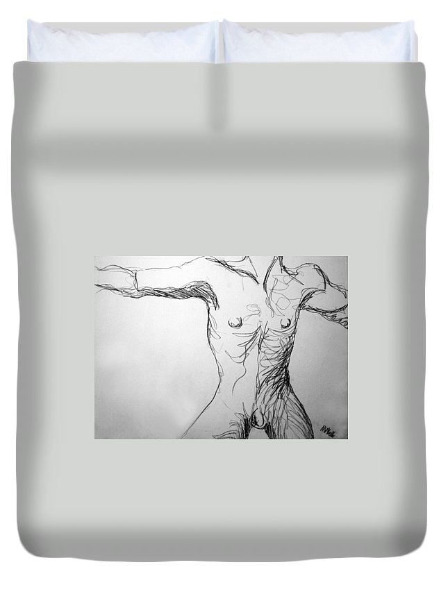 Figure Duvet Cover featuring the drawing Figure Drawing 5 by Nancy Mueller