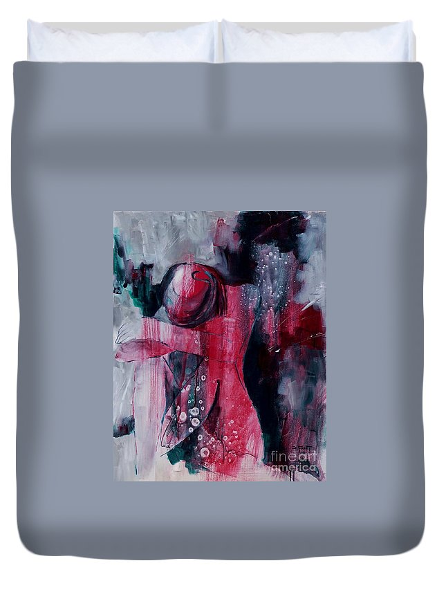 Abstract Expressionism Duvet Cover featuring the painting Figure Study 021 by Donna Frost