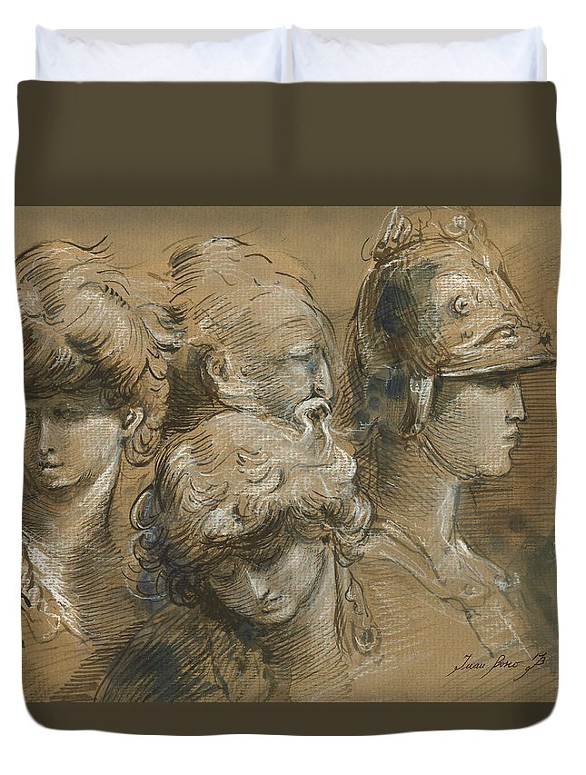 Classic Figures Duvet Cover featuring the painting Figures drawing by Juan Bosco