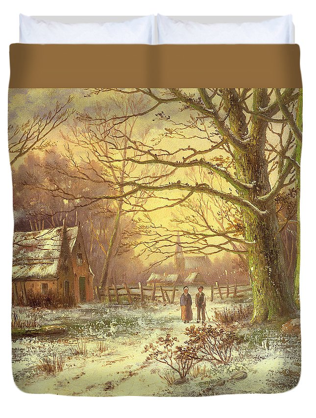 Figures On A Path Before A Village In Winter By Johannes Hermann Barend Koekkoek (1840-1912) Duvet Cover featuring the painting Figures On A Path Before A Village In Winter by Johannes Hermann Barend Koekkoek
