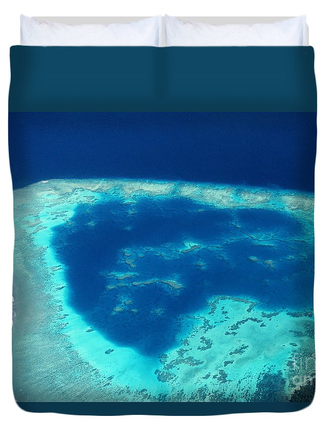 Above Duvet Cover featuring the photograph Fiji Aerial by Doug Cameron - Printscapes