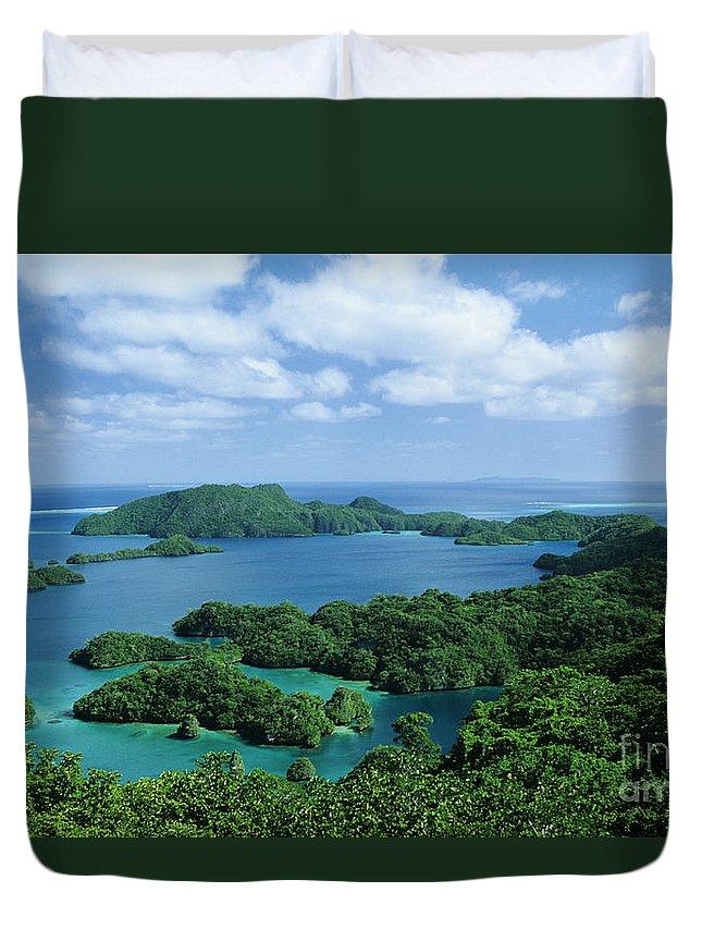 Aerial Duvet Cover featuring the photograph Fiji Vanua Balavu by Larry Dale Gordon - Printscapes