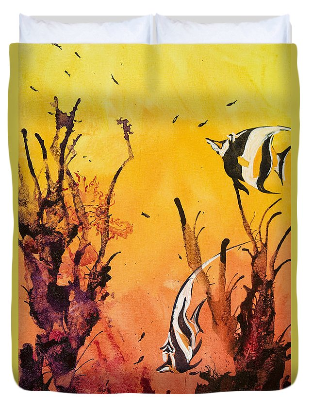Animal Art Duvet Cover featuring the painting Fijian Friends by Tanya L Haynes - Printscapes