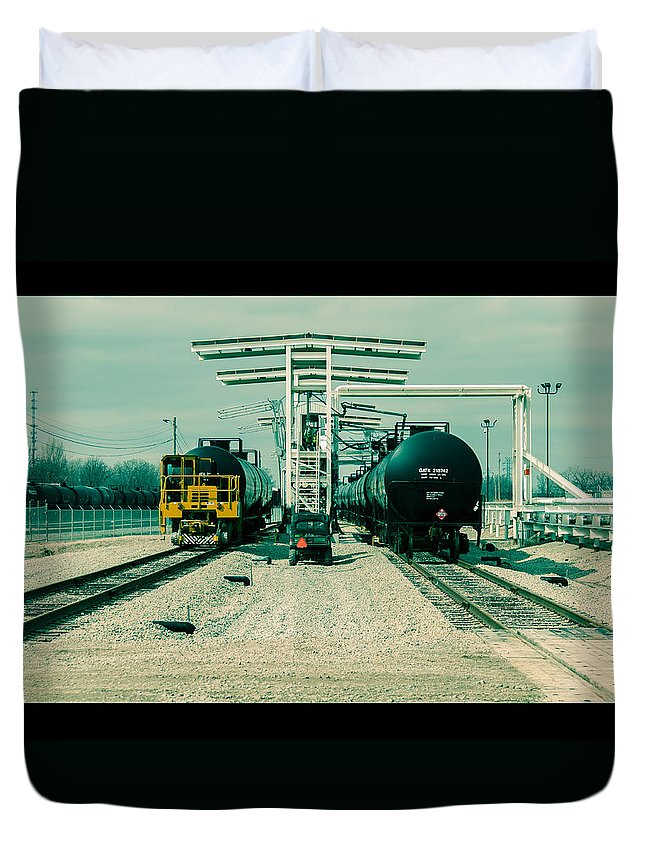 Cinema Duvet Cover featuring the photograph Fill-er Up by Robert Michaud