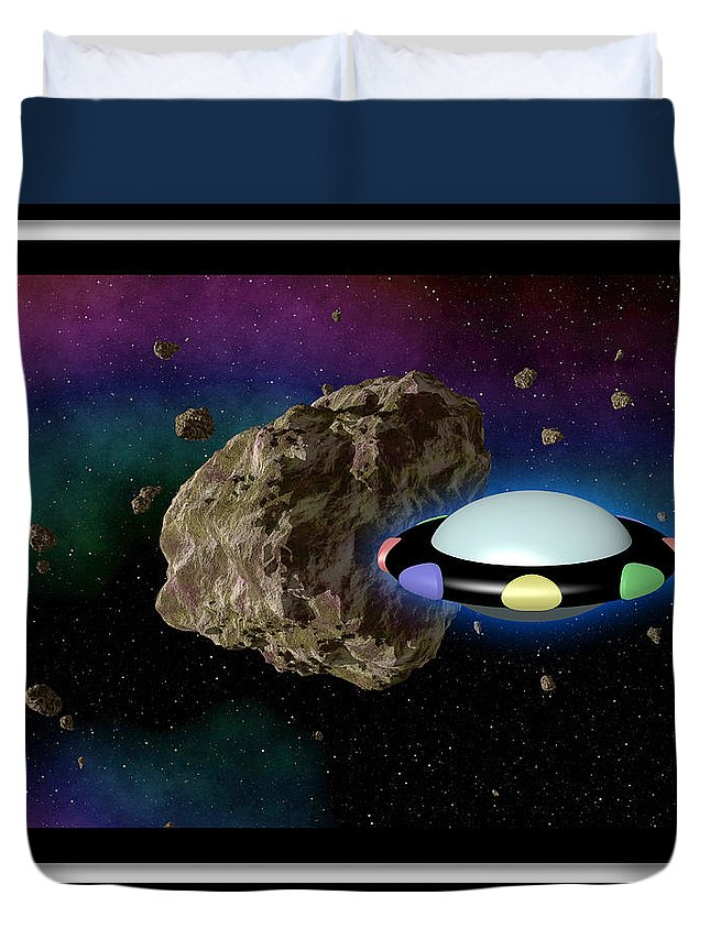 Film Duvet Cover featuring the digital art Film Frame With Asteroid And Ufo by Miroslav Nemecek