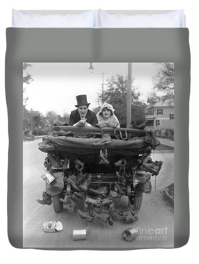 -weddings & Gowns- Duvet Cover featuring the photograph Film Still Wedding by Granger