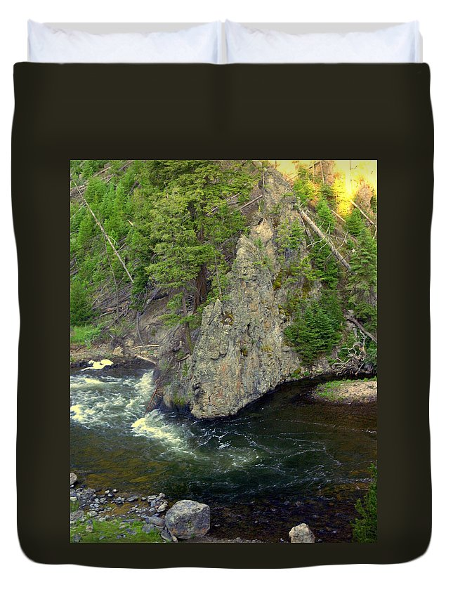 Firehole River Duvet Cover featuring the photograph Fin On The Firehole by Marty Koch