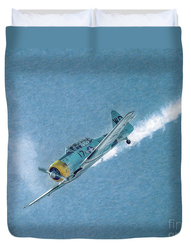 Airplane Duvet Cover featuring the photograph Final Dive World War Two Airplane by Randy Steele