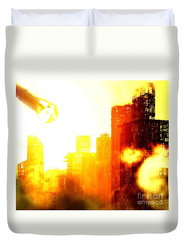 Meteor Showe Duvet Cover featuring the digital art Final Strike by Richard Rizzo