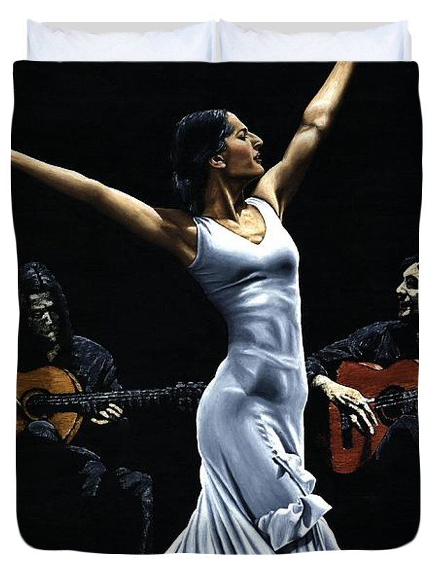 Flamenco Duvet Cover featuring the painting Finale Del Funcionamiento Del Flamenco by Richard Young
