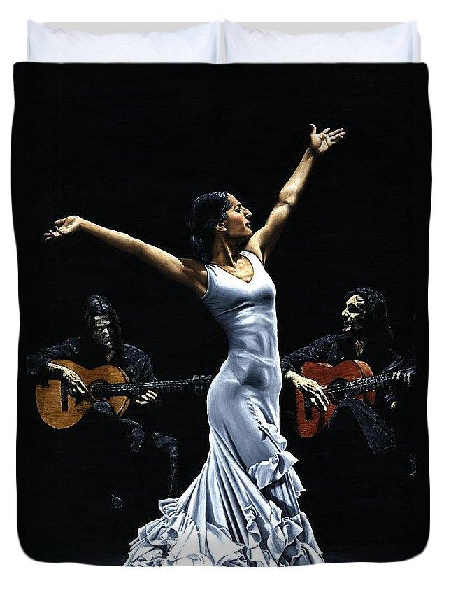 Flamenco Duvet Cover featuring the painting Finale del Funcionamiento del Flamenco by Richard Young