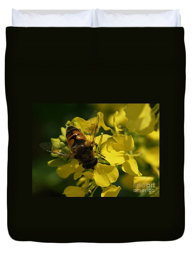 Bee Duvet Cover featuring the photograph Finding Each Other by Linda Shafer