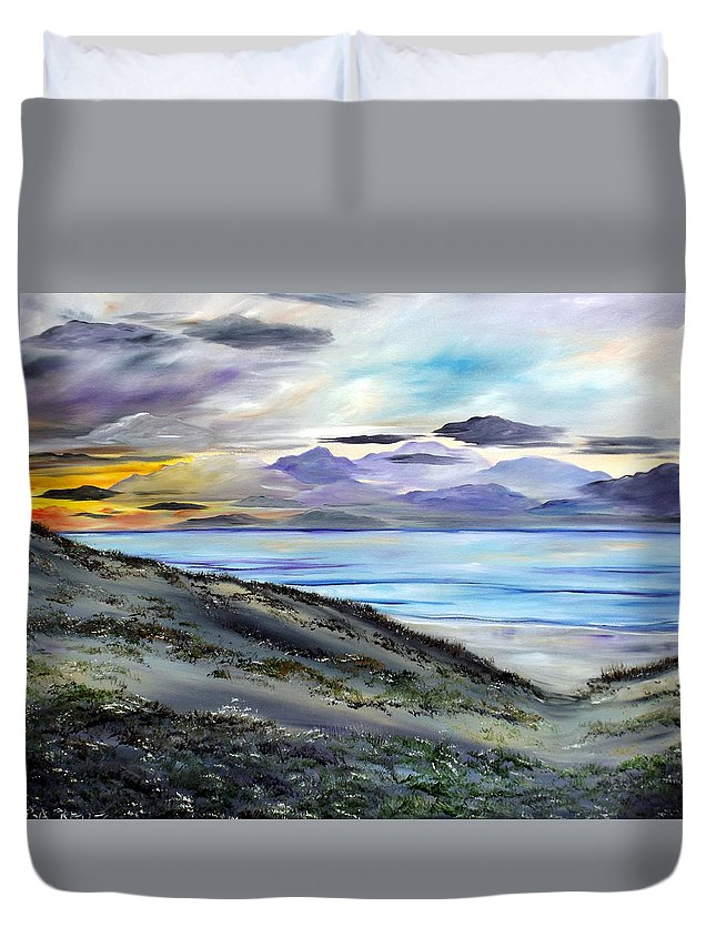 Seascape Duvet Cover featuring the painting Finding The Treasure by Lisa Aerts