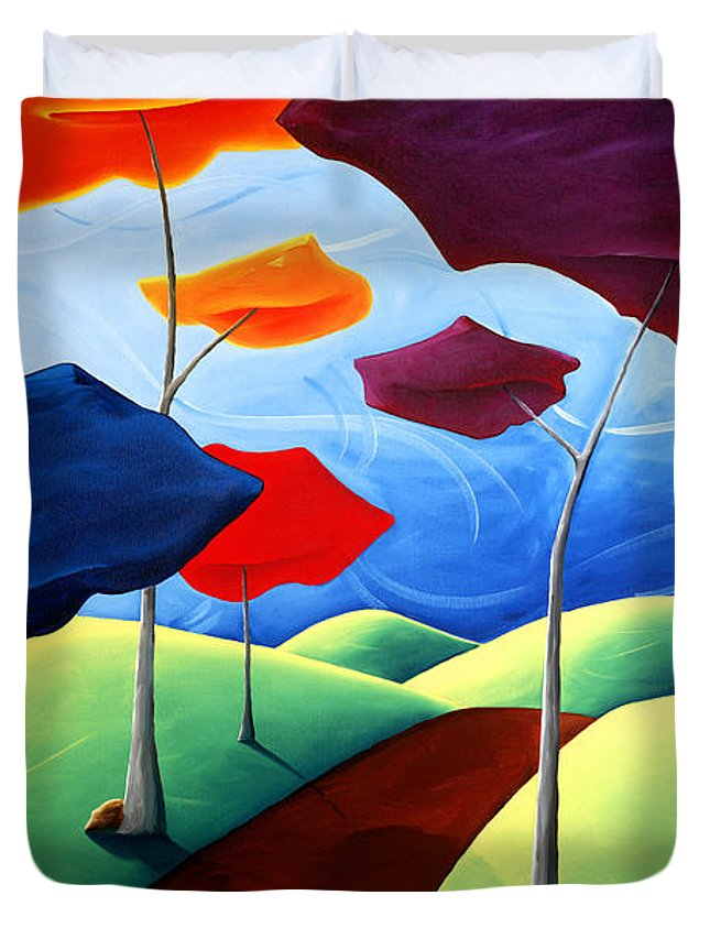 Landscape Duvet Cover featuring the painting Finding Your Way by Richard Hoedl