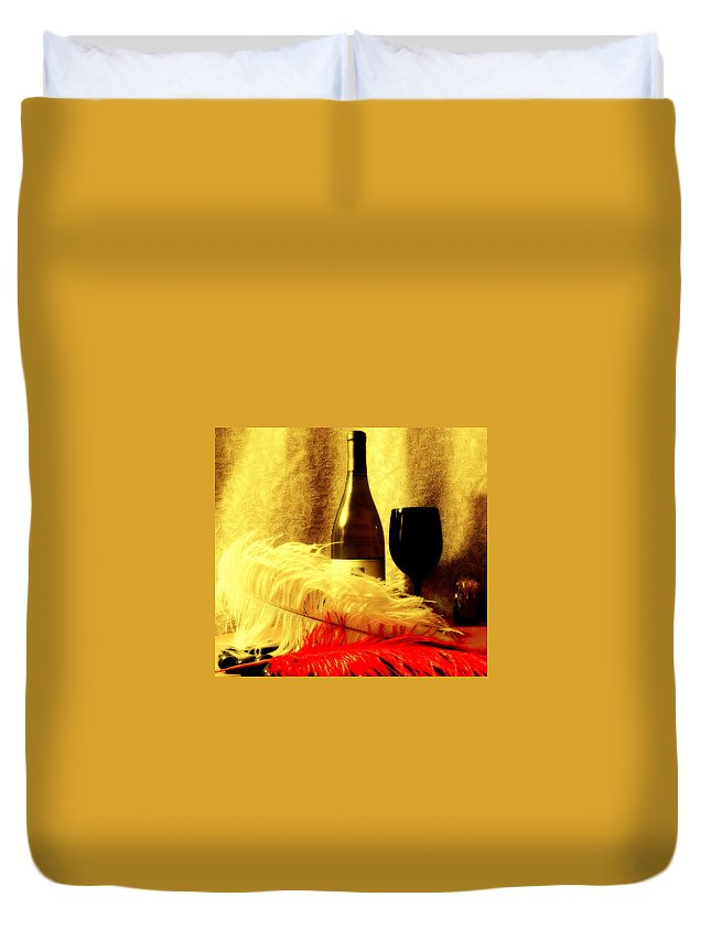 Wine Duvet Cover featuring the mixed media Fine Wine by Douglas Coiner