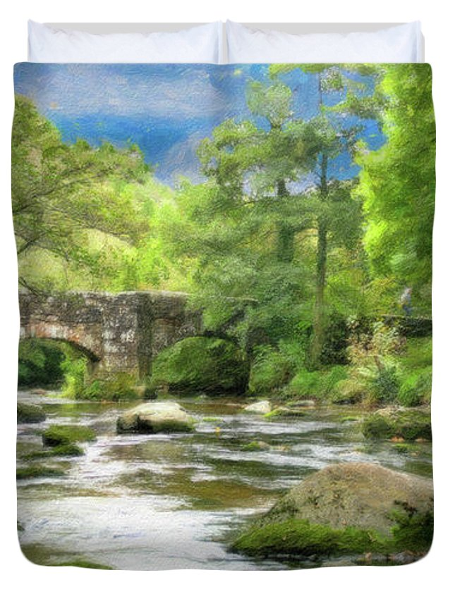 Dean Wittle Duvet Cover featuring the painting Fingle Bridge - P4a16007 by Dean Wittle