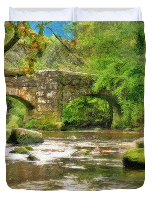 Dean Wittle Duvet Cover featuring the painting Fingle Bridge - P4a16013 by Dean Wittle