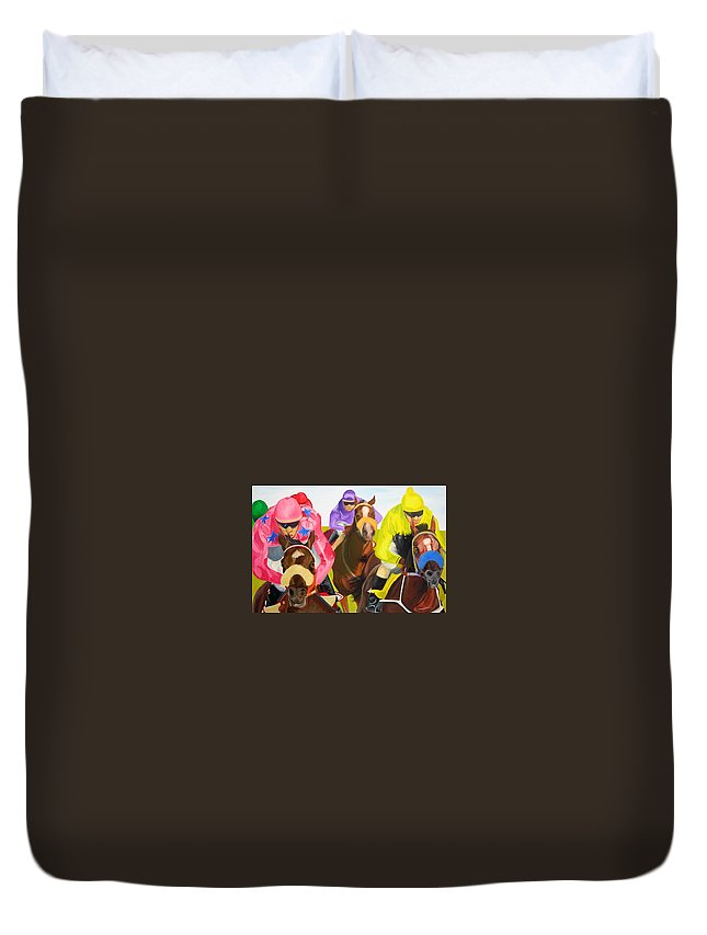 Horse Racing Duvet Cover featuring the painting Finish Line by Michael Lee