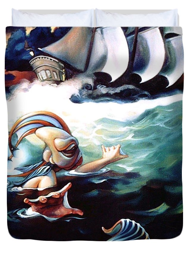 Seafarer Duvet Cover featuring the painting Finnegan's Quest by Patrick Anthony Pierson
